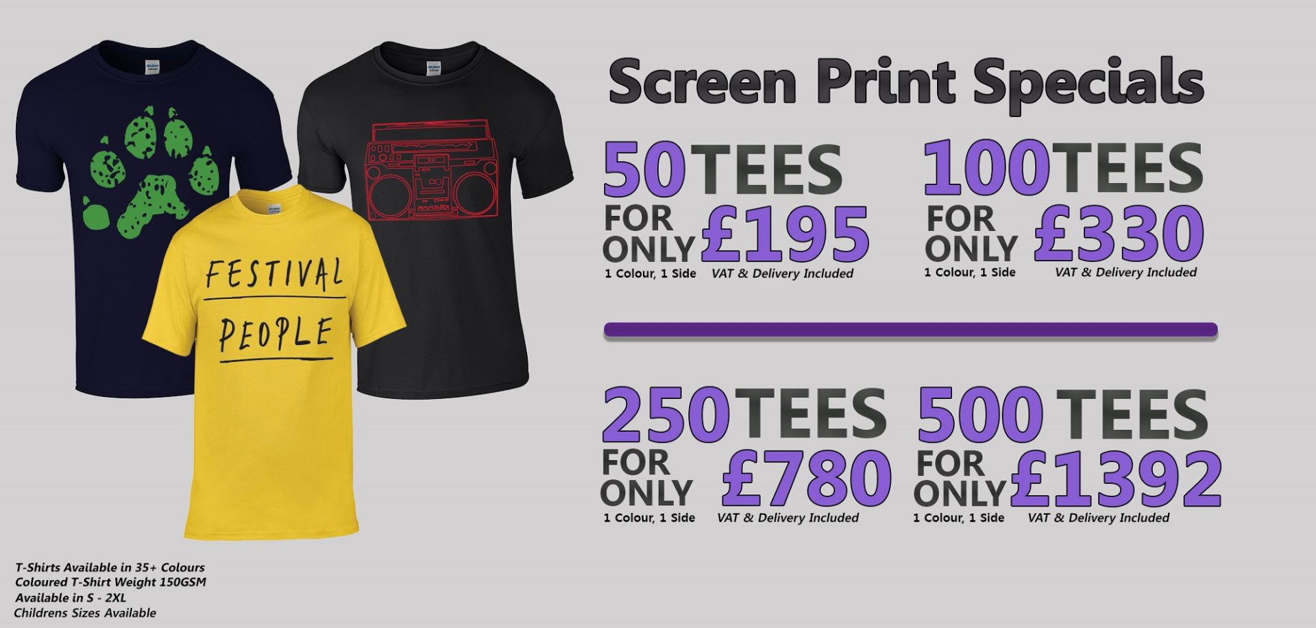 Coloured T-Shirt Screen Printing Offer