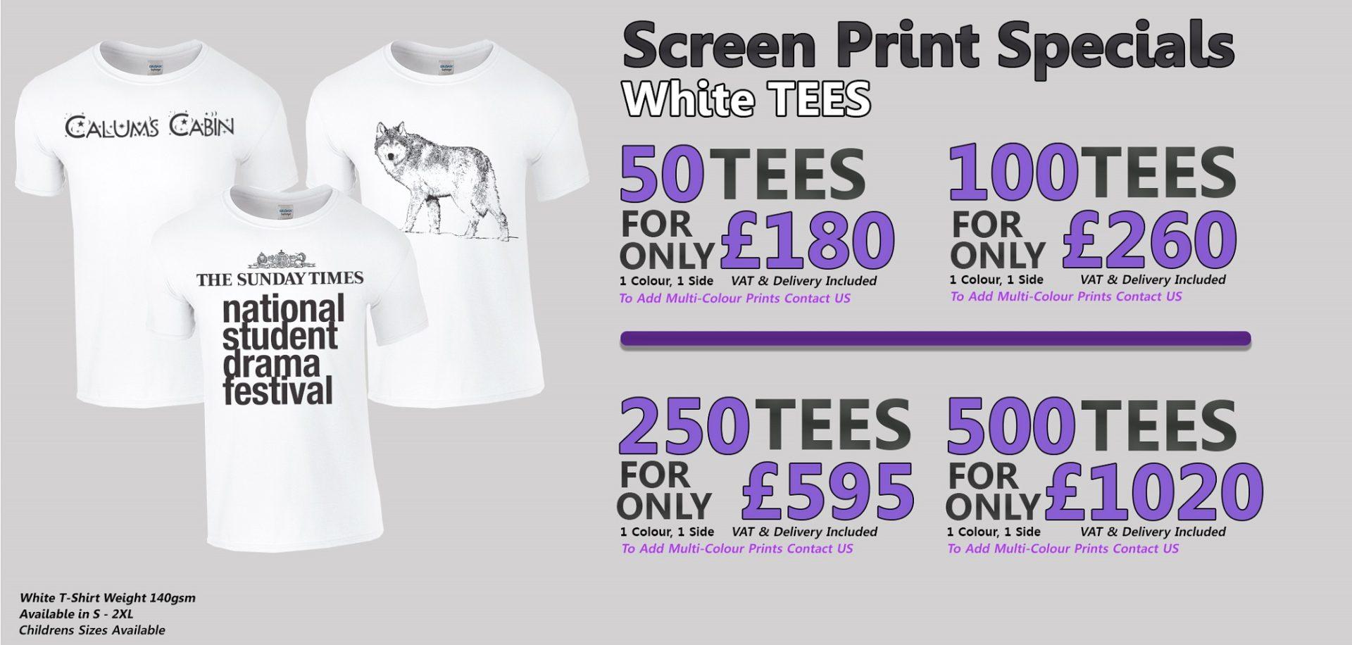 White T-shirt Screen Printing Offer